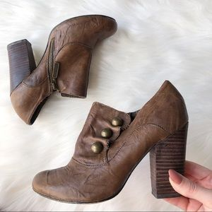 Seychelles Brown Leather Button Ankle Bootie